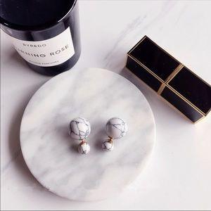 New Marble Like Stone Double Sided Stud Earrings